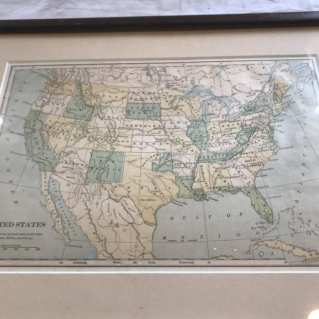Framed Early 20th Century United States Map Chairish