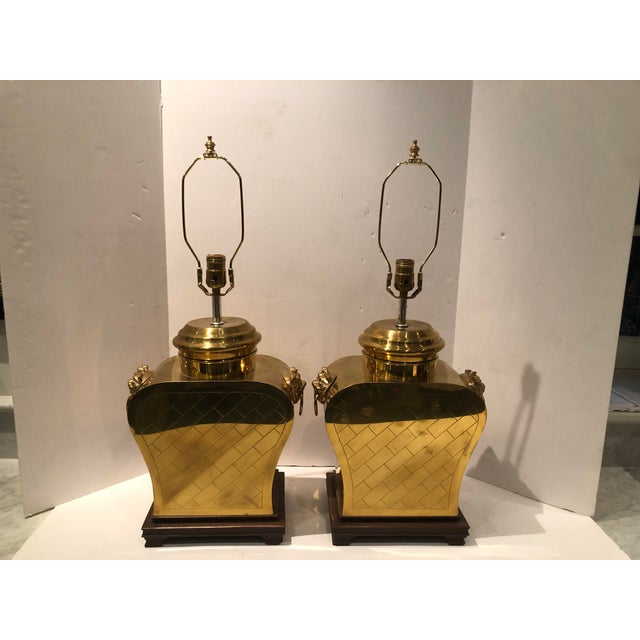 Vintage 1980s Etched Brass Lamps With Shades - a Pair For Sale - Image 4 of 13