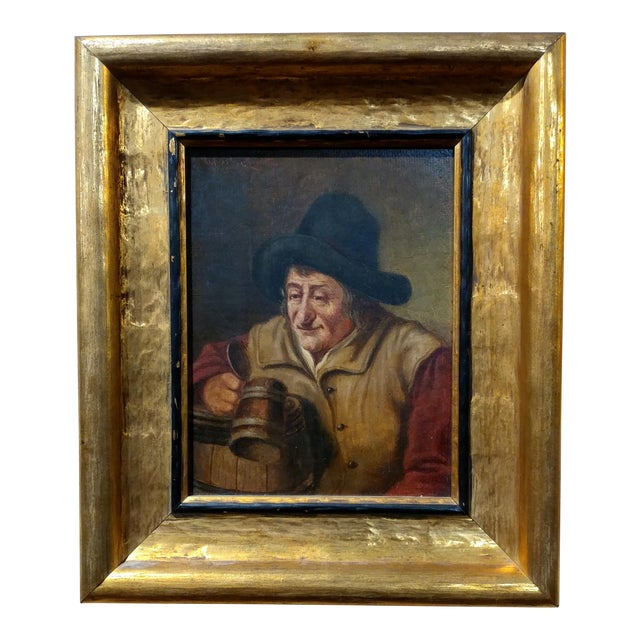 19th Century Dutch Stein Drinker Oil Painting - Image 1 of 8