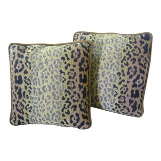 Custom Made Chenille Leopard Pillows - A Pair For Sale