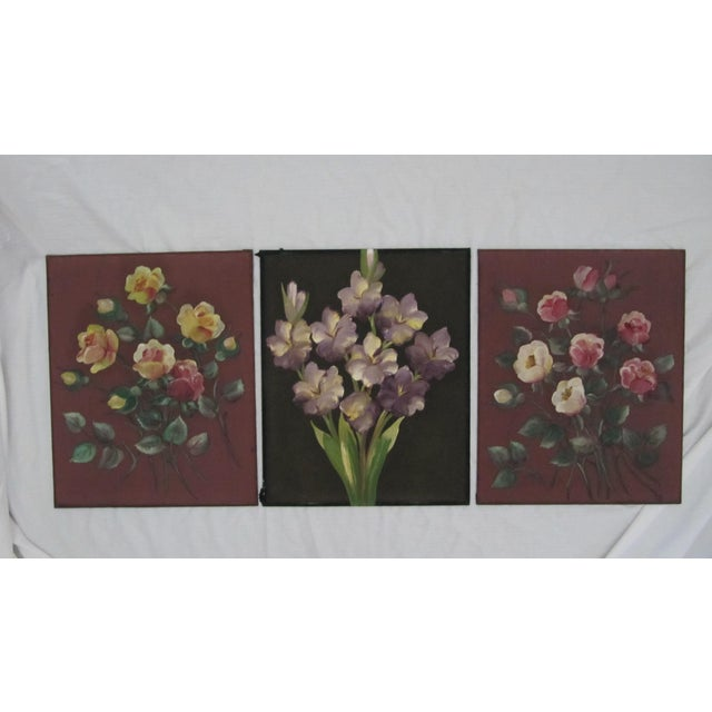 Yellow 1940's Still Life Floral Paintings on Silk-3 Pieces For Sale - Image 8 of 8