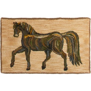 1930s Antique Hooked Rug - 4′ × 2′