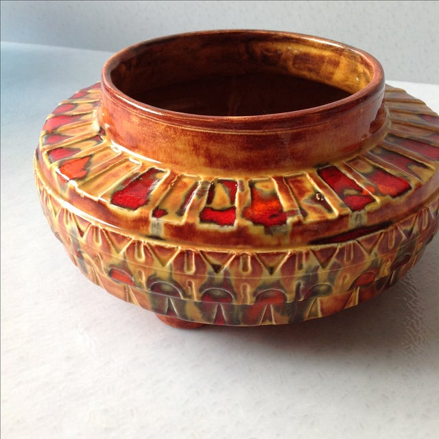 "1970s Brown and Red ""UFO"" Ceramic Planter - Image 11 of 11"