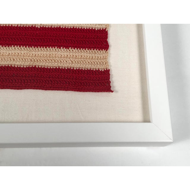 1940s Small Vintage Hand Crocheted American Flag For Sale - Image 5 of 12