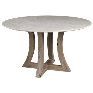 Soft Ivory Marble Top Dining Table For Sale
