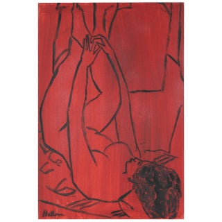 Rip Matteson Modernist Female Nude Figure in Red, Oil Painting on Canvas, Late 20th Century Circa Late 20th Century For Sale