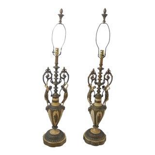 Vintage Italian Retro Art Deco Cast Iron Table Lamps - A Pair