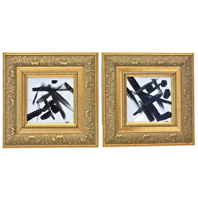 Black & White Abstract Paintings - A Pair - Image 1 of 5