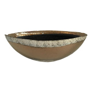 1970s Hollywood Glam Style Terracotta Copper Colored Oval Bowl For Sale
