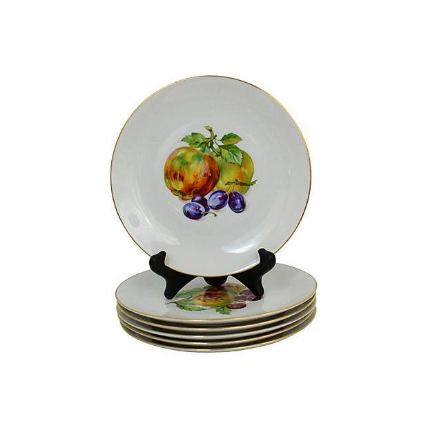 Six vintage dessert plates with fruit motif made in Bohemia, Czechoslovakia. Excellent condition.