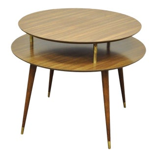 "Vintage 27"" X 33"" Mid Century Modern 2 Tier Round Accent Atomic Lamp Side Table For Sale"