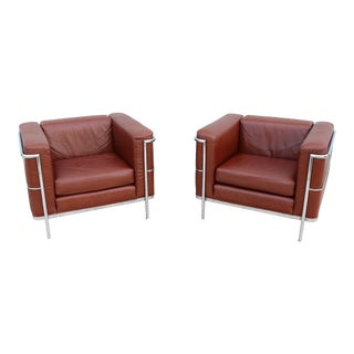 1980s Mid-Century Modern Le Corbusier LC2 Style Brown Leather Lounge Chairs - a Pair For Sale