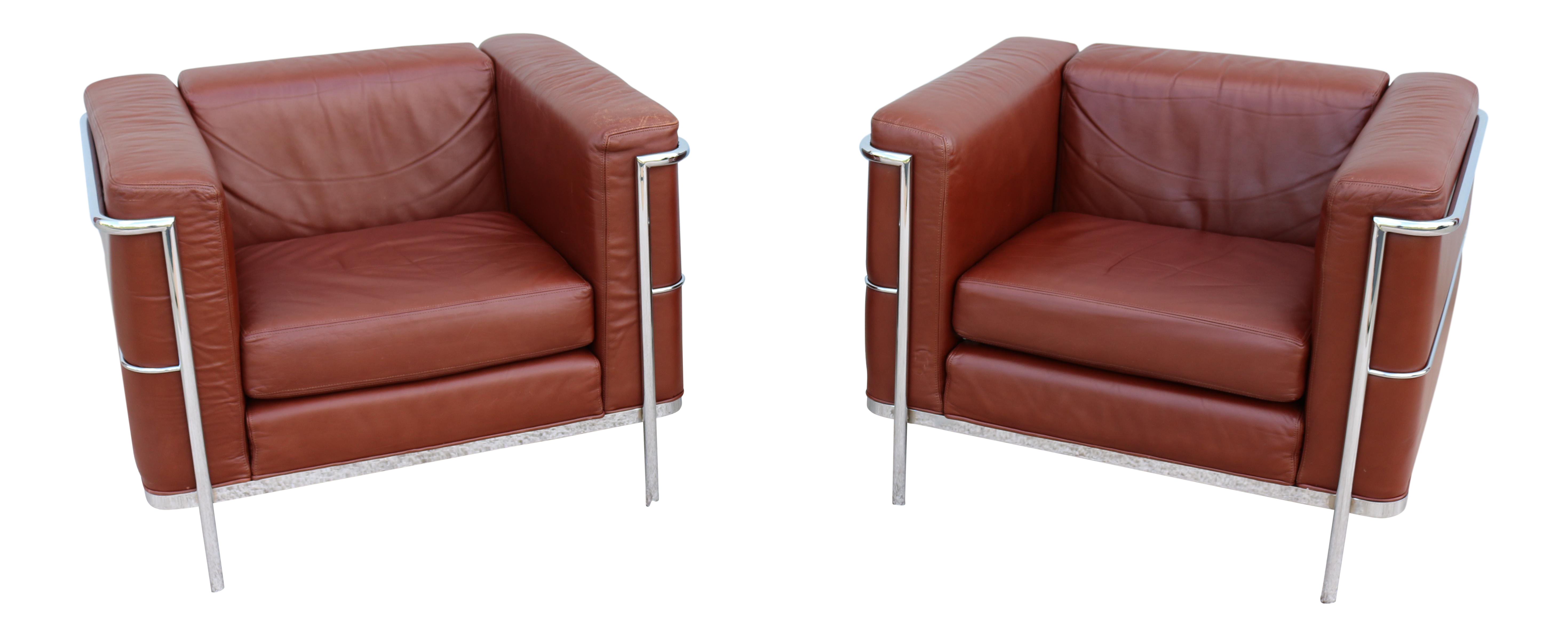 1980s Mid Century Modern Le Corbusier LC2 Style Brown Leather Lounge Chairs    A Pair