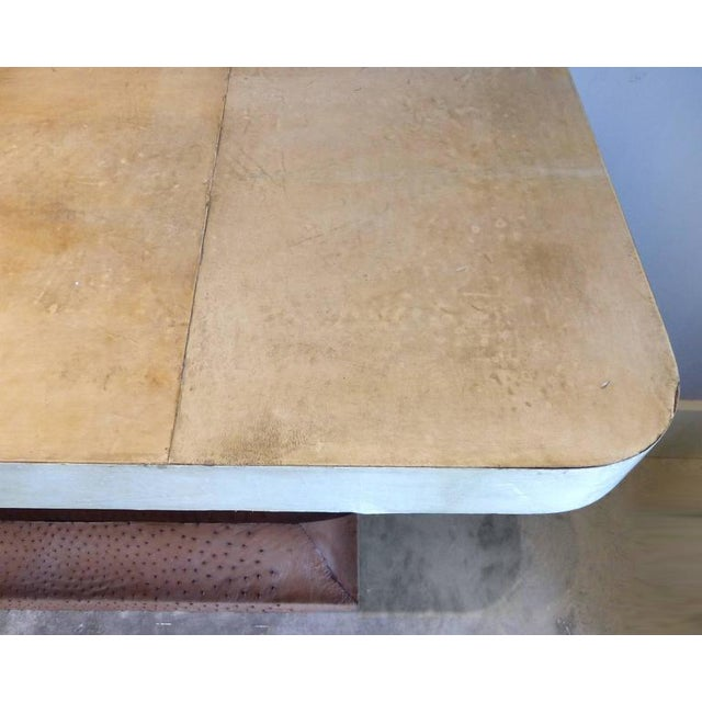 Art Deco Goatskin and Ostrich Skin Clad Console Tables, Pair For Sale In Miami - Image 6 of 11