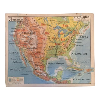 Vintage French North America Map