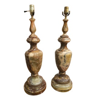 1950's Vintage Monumental Neoclassical Style Onyx Lamps- A Pair For Sale