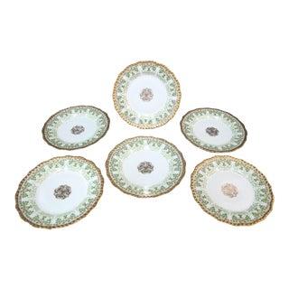 Limoges France Green Gold Gilt Flower Plates - Set of 6 For Sale