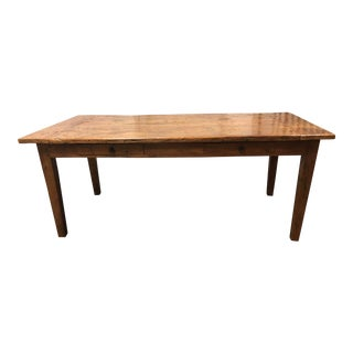 Rustic Reclaimed Two Drawer Farm Table For Sale