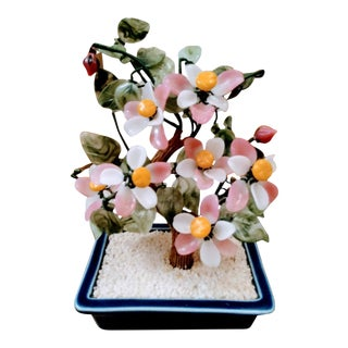 1980s Vintage Jade Flower Chinoiserie Tree For Sale