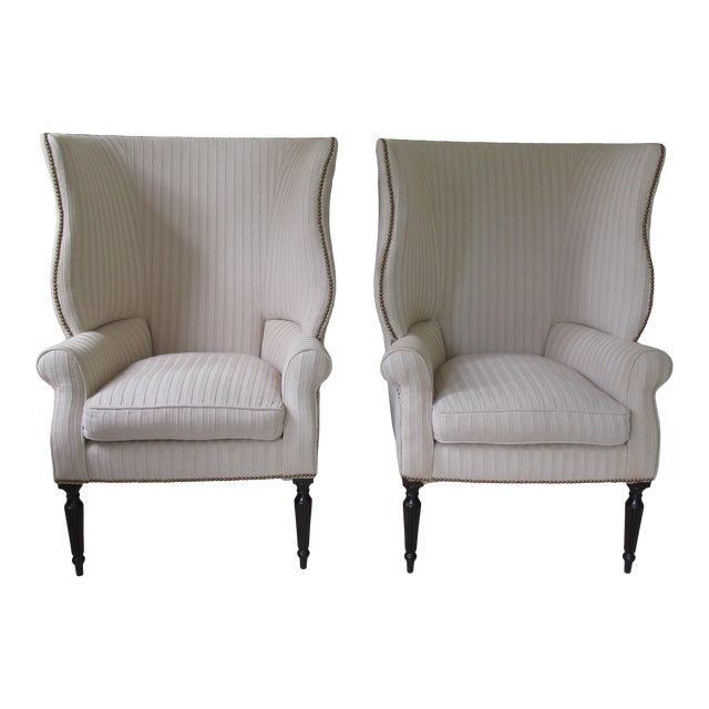 Victoria Hagen Home ''Wainscott'' Wingback Chairs- A Pair For Sale