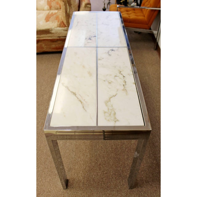 Milo Baughman Mid-Century Modern Milo Baughman Chrome and White Marble Console Table, 1970s For Sale - Image 4 of 7