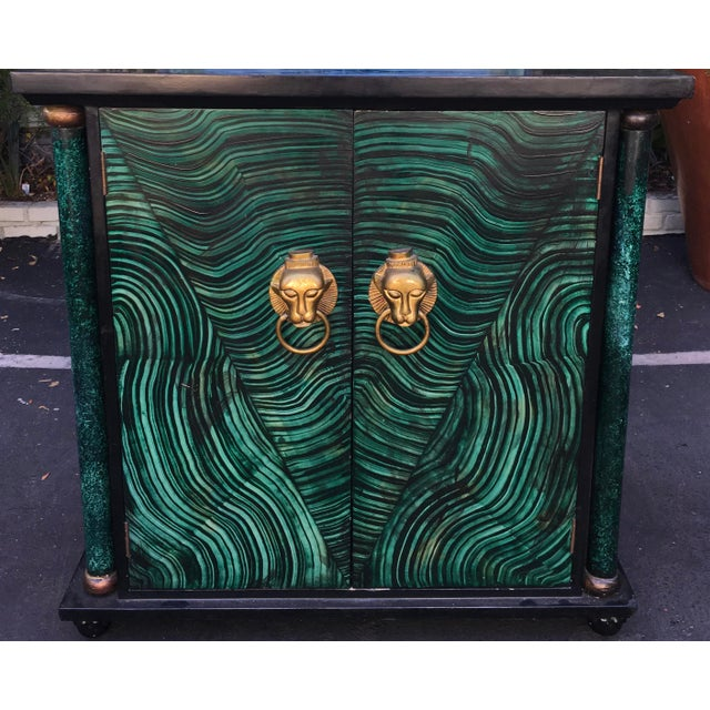 Vintage Mid Century Modern Faux Malachite Cabinet & Mirror For Sale - Image 4 of 8