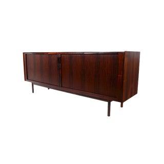 Ib Kofod Larsen Danish Modern Rosewood Tambour Door Credenza Sideboard For Sale