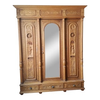 Flemish Pine 3 Door Armoire For Sale