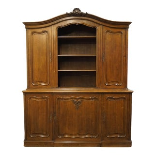"""Vintage Solid Walnut Louis XVI Country French Provincial 75"""" Sideboard Buffet with Hutch For Sale"""