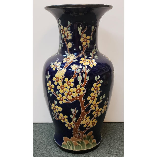 French Circa 1880 French Longwy Style Pottery Enameled Yellow Cherry Blossom Motifs Baluster Vase For Sale - Image 3 of 9