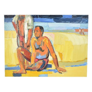 1970 Vintage Lars Birger Sponberg Two Men Sunbathing at Beach Oil Painting For Sale