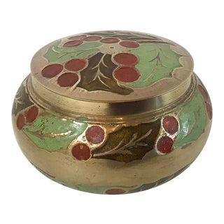 Vintage Brass and Enamel Trinket Box With Holly Design For Sale