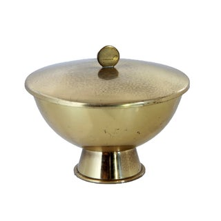 Swedish Art Deco Brass Lidded Bowl