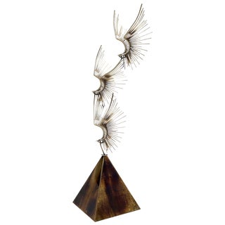 Large Flying Birds Group Metal Sculpture Pyramid Shape Base Curtis Jere For Sale