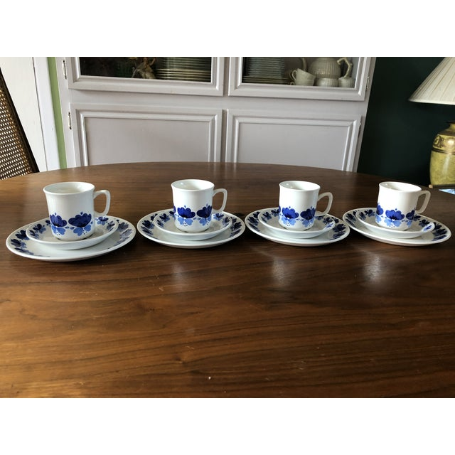 Vintage Stavangerflint by Rolf Froyland (set of 4 each)cups, saucers, and small plates. The pattern is Viola made in...