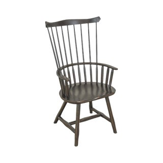 Hunt Country Furniture Black Painted Oak Windsor Arm Chair For Sale