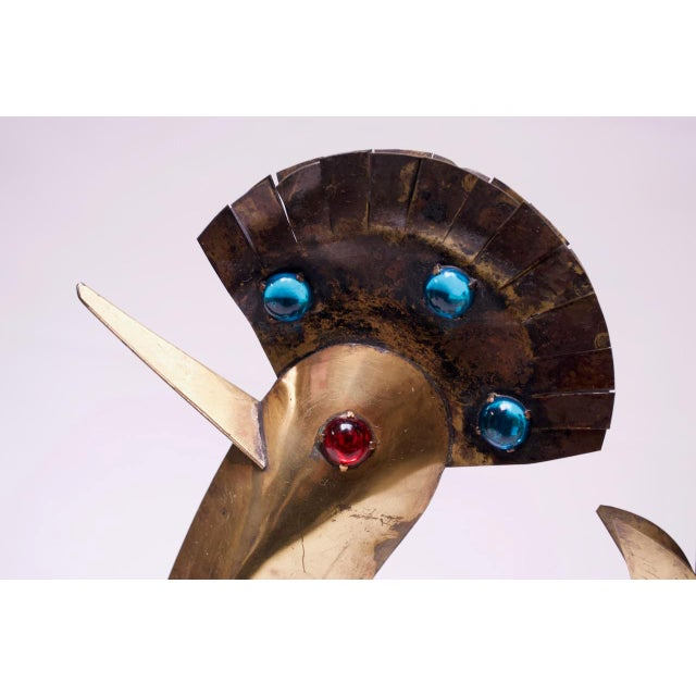 Metal Vintage Brutalist Torch-Cut Mixed Metal Bird Sculpture For Sale - Image 7 of 13