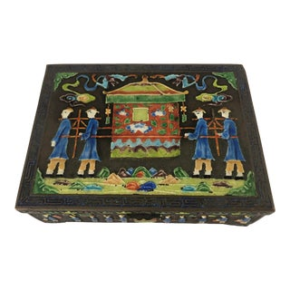 Vintage Chinese Enameled Box With Rickshaw For Sale
