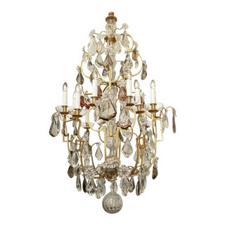 Large Twelve Light Crystal and Bronze Chandelier Attributed to Bagues For Sale