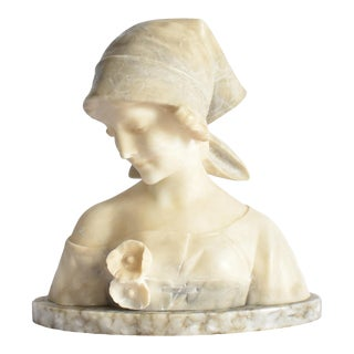 Antique Italian Alabster Marble Bust Sculpture of Young Woman For Sale