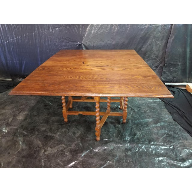 English Oak Drop Leaf Table For Sale - Image 6 of 6