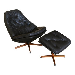 Madsen & Schubell Black Leather Lounge Chair and Ottoman - a Pair For Sale