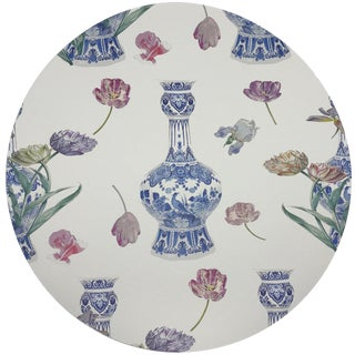 "Nicolette Mayer Royal Delft Purissima 16"" Round Pebble Placemats, Set of 4 For Sale"