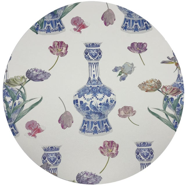"""Nicolette Mayer Royal Delft Purissima 16"""" Round Pebble Placemats, Set of 4 For Sale"""