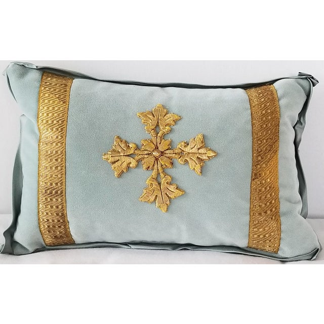 2010s Antique French Ecclesiastical Embroidered Metallic Cross Applique on Custom Down Pillow For Sale - Image 5 of 5