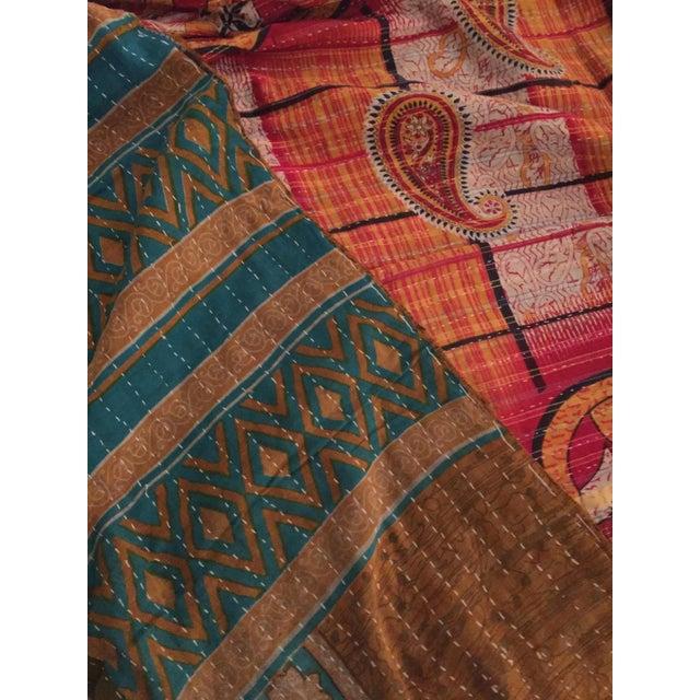 Boho Chic Vintage Kantha Quilt - Image 4 of 4