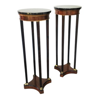 Italian Rosewood and Marble Pedestals or Plant Stands - A Pair For Sale