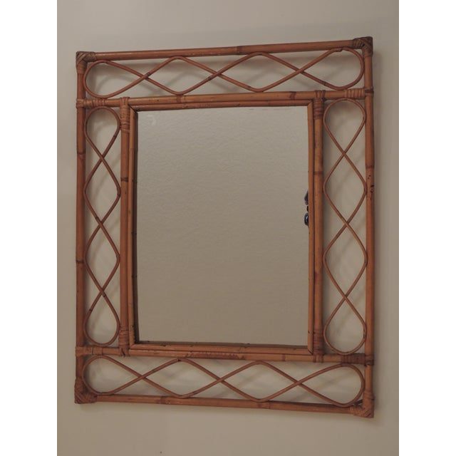 Vintage Bamboo and Rattan Wall Mirror For Sale In Miami - Image 6 of 6