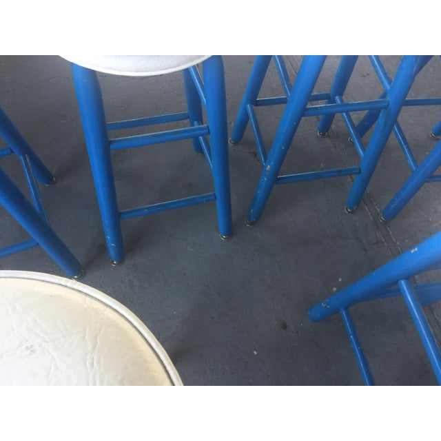 6 Barstools Blue and White For Sale - Image 4 of 6