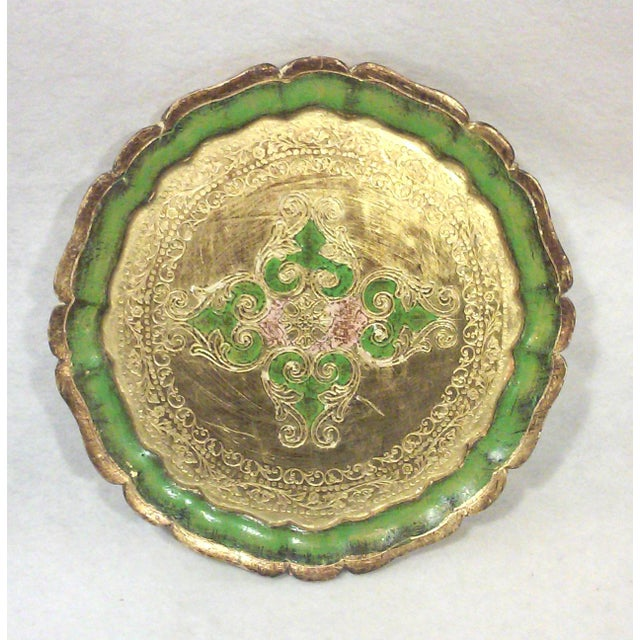 Italian made Florentine green and gold leaf decorative tray with light pink accent in the center. This elegant tray looks...